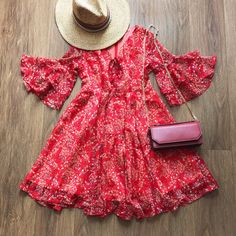 Lace-Up V-Neck Floral Ruffle Dress – The Other Sparrows Ruffle Sleeve, Ruffle Dress, Girly Outfits, Cute Outfits, Sparrows, Petite Women, My Wardrobe, My Outfit, Casual Dresses