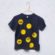 MOSQUITO organic hand printed t-shirt in navy by LOSTSHAPESPRINTS