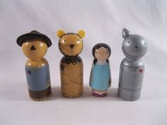 Wizard of Oz wooden dolls: Scarecrow, Lion, Dorothy (and Toto), and the Tin Man