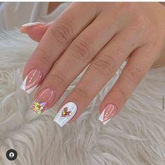 Little Girl Nails, Girls Nails, Simple Acrylic Nails, Fall Acrylic Nails, Aycrlic Nails, Cute Nails, Valentine Nail Art, Nail Candy, Minimalist Nails
