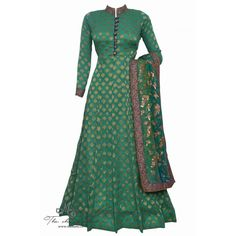 Regal green anarkali featuring in benarasi butti and exquisite work on band and dupatta