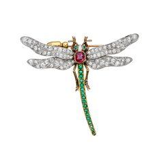 Estate Betteridge Collection Antique Gem-Set Dragonfly Pin