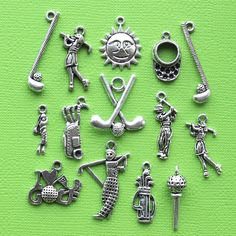 Golf Charm Collection Antique Silver Tone 14 by BohemianFindings