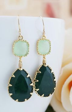 Palace Green Opal Swarovski Crystal Earrings from EarringsNation Green Weddings