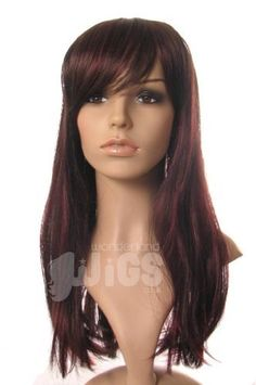 Long dark brown (nearly black) straight ladies wig with stunning red lowlights and cute fringe! ! by Wonderland Wigs. $33.99. Length: 45cm/19in. Long dark brown (nearly black) straight ladies wig with stunning red lowlights and cute fringe!. Same day despatch. Discreet packaging. 100% Kanekalon synthetic fibre - high quality natural look. NOTE: A genuine version of this item is ONLY available to buy from Wonderland Wigs. Other sellers are selling copies of this item and n...
