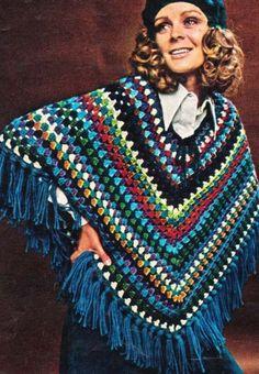 PDF Pattern Scrap Yarn Poncho to Crochet | hollywoodpatterns - Craft Supplies on ArtFire