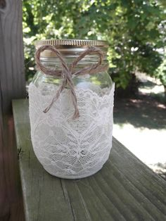 Mason Jar Wedding lace luminary with twine
