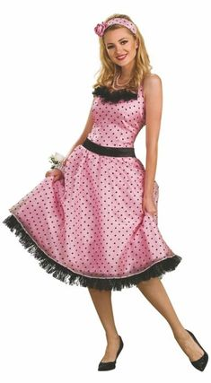 Costumes Polka Dot Prom Adult Women's Costume - You can quit browsing for Halloween costumes for women now. You've struck gold. This Polka Dot Prom Adult Women's Costume is an astounding . 50s Halloween Costumes, Mode Halloween, Halloween Fashion, Halloween Dress, Adult Costumes, Costumes For Women, 1950s Costumes, Adult Halloween, Halloween Customs