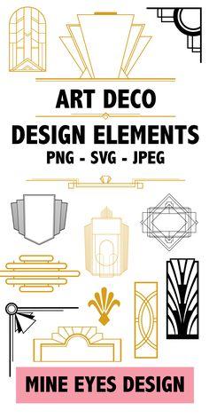 Gold and Black Art Deco vectors - borders, designs, shapes. Art Deco Font, Art Deco Decor, Art Deco Design, Design Design, Logo Design, Art Deco Wall Art, Art Deco Paintings, Art And Craft Design, Quilt Design
