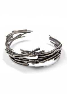 Sterling Silver Stackable Organic Recycled Silver Cuff Unisex