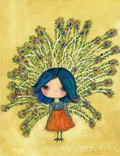 Peacock Print Bird Girl Wall ArtLonely Peacock by thepoppytree, $18.00
