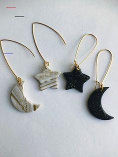 Star and Moon Earrings Polymer Clay Earrings Celestial Earrings Asymmetrical Earrings Mismatched Earrings Gold and White Marble Cosmic Diy Clay Earrings, Moon Earrings, Diamond Earrings, Diamond Stud, Star Earrings, Diy Earrings Dangle, Emerald Diamond, Silver Earrings, Polymer Clay Crafts