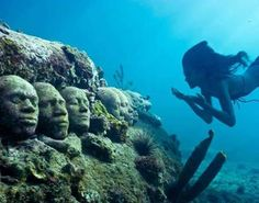 Underwater sculpture off the coast of Grenada honoring dead, injured, and sick captives thrown off slave ships.