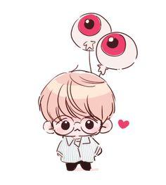 Baek and his eyeballs friends Baekhyun Fanart, Chanbaek Fanart, Kpop Fanart, Chibi Exo, Anime Chibi, Exo Cartoon, Exo Stickers, Exo Anime, Doodle Characters