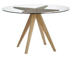 Tables   Round dining table with a glass top held up with a brown wooden  base contemporary white dining table       Modern Icon Round High  . Round Oak Dining Table Glass Top. Home Design Ideas