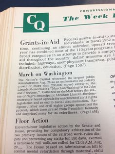 The Week in Congress, from #CQ for the week ending Aug. 30, 1963. #civilrights #mow50 #marchonwashington