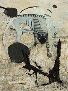 Clifton Pugh (Australian: 1924-1990) - A Feral Cat (1969)