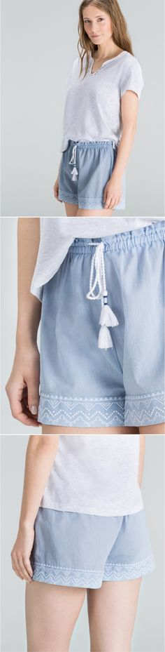 These shorts are a charming way to unwind, in light, airy cotton with embroidered detail and an adjustable waist.