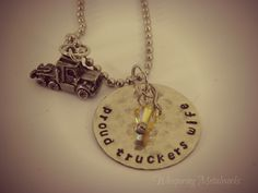 Proud Truckers Wife silver necklace silver by WhisperingMetalworks, $30.00