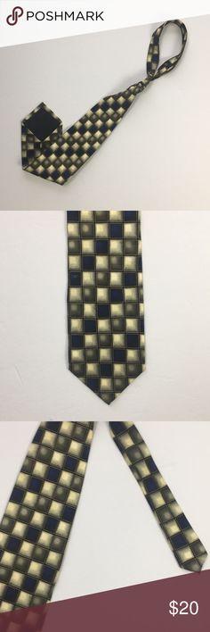 Men's Bergamo New York 100% Silk Tie Blue green grey checkered pattern tie. Hand made. 100% silk. Excellent condition. Bergamo New York Accessories Ties