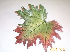 This is Japanese Rhubarb, It has been cast in concrete and painted with acrylics.It was a special commision. Painting Cement, Cement Art, Concrete Crafts, Concrete Art, Concrete Projects, Wood Crafts, Cement Leaf Casting, Concrete Leaves, Garden Fountains Outdoor