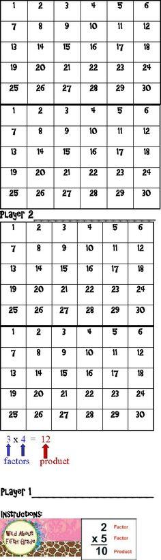 The Factor Game Freebie   Scribd