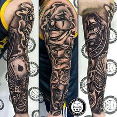 Black Grey Tattoos Tattoo Studio in Patong Phuket Thailand Full Arm Sleeve Tattoo, Realistic Tattoo Sleeve, Tattoos Realistic, Wolf Tattoo Sleeve, Forearm Tattoo Men, Tattoo Sleeve Designs, Tattoo Designs Men, Mens Leg Tattoo, Skull Hand Tattoo