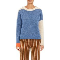 Acne Studios Women's Rafa Colorblocked Mohair-Blend Sweater ($350) ❤ liked on Polyvore featuring tops, sweaters, acne studios sweater, crew-neck sweaters, color-block sweater, blue crew neck sweater and crew neck top