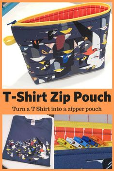How To Make a Cute Bag From an Old Cherished T-Shirt Turn a t-shirt into a zipper pouch. Upcycle a treasured t shirt into a useful zippered pouch with this easy DIY sewing project. Use your tshirt as a b. Diy Bag With Zipper, Zipper Bags, Zipper Pouch, Diy Zip Bag, Zippered Pouch Tutorial, Diy Bags Easy, Simple Bags, Easy Diy, Simple Diy