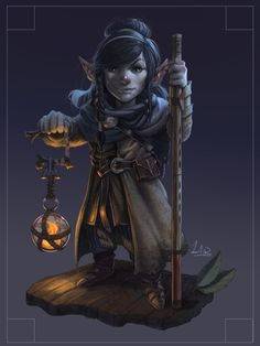 f Gnome Rogue Arcane Trickster Leather Armor Staff lantern underdark undercity Quark Master's Dungeons And Dragons Characters, Dnd Characters, Fantasy Characters, Female Characters, Fantasy Character Design, Character Design Inspiration, Character Concept, Character Art, Dark Souls