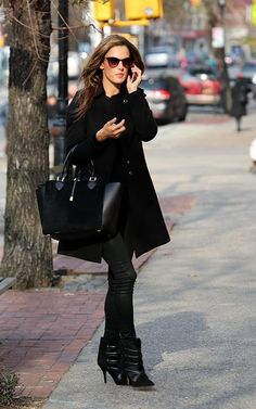 Alessandra Ambrosio wearing Thierry Lasry Anorexxxy sunglasses in Shiny Black and Gradient Brown Michael Kors Miranda tote in black Isabel Marant Tacy Boots