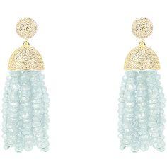 Latelita London - Tassel Earring Aquamarine (345 CAD) ❤ liked on Polyvore featuring jewelry, earrings, white tassel earrings, earring jewelry, pave earrings, tassel earrings and aquamarine jewellery