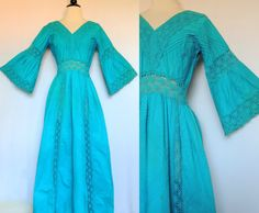 Vintage Mexican Crochet Maxi Dress with Huge Angel Bell Sleeves. Mexican Wedding Dress