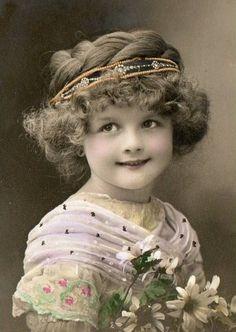Young girl with jeweled headband - tinted.