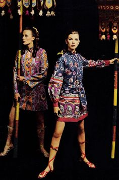 """April 1968 ~ Seventeen ~ """"When rajahs take to print, the results are swirling streams of color! 60s And 70s Fashion, African Inspired Fashion, Retro Fashion, Vintage Fashion, Ethnic Fashion, Vintage Style, Twist And Shout, Seventeen Magazine, Vintage Outfits"""