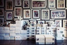 The house's magazine covers on display, along with shoes headed to a sample sale.