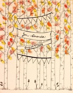 Hand Drawn Ink Guest Book Art: Birch Trees and Banners. $55.00, via Etsy.