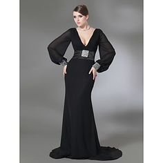 Trumpet/Mermaid V-neck Sweep Train Chiffon And Stretch Satin Evening Dress  – USD $ 176.39 <3 this !!!!