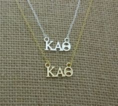 Dainty Alpha Sigma Tau Sorority Jewelry Drop Necklace Sorority Lavalier Necklace 18, Gold-Plated-Stainless-Steel