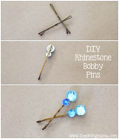 DIY Rhinestone bobby pins plus 12 other easy rhinestone projects made from things you already have around the house!!