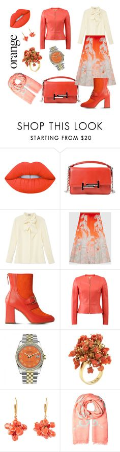 """Orange lips for October days."" by green-eye ❤ liked on Polyvore featuring beauty, Lime Crime, Tod's, Frame Denim, Gucci, Boutique Moschino, Michael Kors, Rolex, coral and Boots"