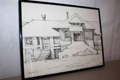 Professionally Framed Pencil Art Sketch Of House Signed By Artist