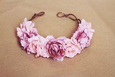 rose crown headband - pastel pink, flower crown, Lana del ray, frida kahlo, large rose hair wreath, festival crown, romantic.