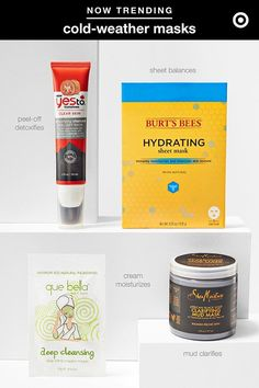 Facial masks are magic as temps begin to cool. Here's the 411 (and a few of our faves) to keep you glowing all season long. First, there are 4 basic mask types. Second, each has different benefits: Cream masks (Que Bella Aloe Vera Cream Mask) hydrate; peel-off masks (Yes To Tomatoes Charcoal Peel-Off Mask) remove impurities; mud masks (SheaMoisture Clarifying Mud Mask) cleanse; and paper masks (Burt's Bees Hydrating Sheet Mask) enable intensive care with active ingredients.