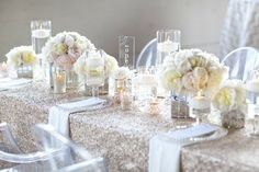 Modern Shabby Chic Ivory Silver White Centerpieces Chairs Indoor Reception Menu Cards Place Settings Spring Wedding Reception Photos & Pictures - WeddingWire.com