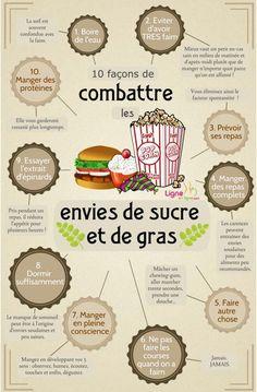 10 façons de combattre les envies de sucre et de gras. #mincir #maigrir #pertedepoids #poids #complementminceur #nutrition #mangersain #regime #reequilibragealimentaire #HealthyNutrition