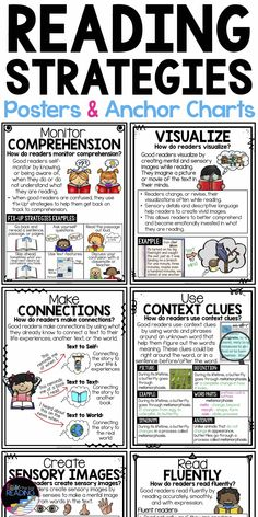 These reading strategy anchor charts and printable reading posters are perfect for a readers workshop Reading Strategies Posters, Reading Posters, Reading Comprehension Strategies, Reading Fluency, Reading Intervention, Reading Lessons, Reading Skills, Math Lessons, Guided Reading Activities