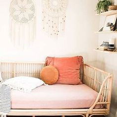 Honey Rattan Daybed: Natural - Natural Fiber by World Market Rattan Daybed, Daybed Room, Big Girl Rooms, Modern Girls Rooms, Living Room Decor, Bedroom Decor, Girls Bedroom, Bedroom Loft, Bedrooms