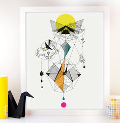 Geometric Art Faceted Fashion Art Geometric Bird Modern by Fybur