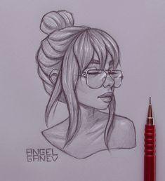 Teressa - Day by AngelGanev on DeviantArt Girl Drawing Sketches, Girly Drawings, Art Drawings Sketches Simple, Pencil Art Drawings, Cool Drawings, Drawing Art, Amazing Drawings, Beautiful Drawings, Arte Sketchbook